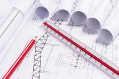 Engineering drawings. Drawing detail and drawing tools Stock Photography