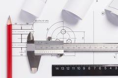 Engineering drawings Stock Image