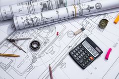 Engineering drawings and tools Stock Image