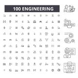 Engineering editable line icons, 100 vector set, collection. Engineering black outline illustrations, signs, symbols royalty free illustration