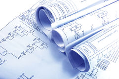 Engineering electricity blueprint rolls Royalty Free Stock Photography