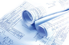 Engineering electricity blueprint rolls isolated stock photo