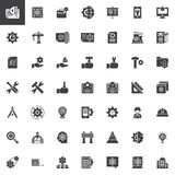 Engineering elements vector icons set. Modern solid symbol collection, filled style pictogram pack. Signs, logo illustration. Set includes icons as Plan, Cpu royalty free illustration