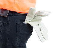 Engineering equipment concept in close-up with gloves and orange stock image
