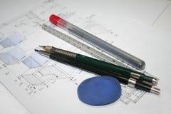 engineering för arkitekturteckningar Arkivbild