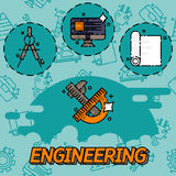 Engineering flat icons set Stock Photography