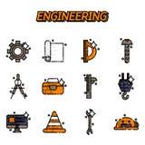 Engineering flat icons set Stock Images