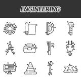 Engineering flat icons set. Vector illustration, EPS 10 Royalty Free Stock Photography