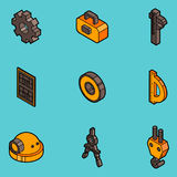 Engineering flat outline icons. Construction Engineer. Vector illustration EPS 10 Royalty Free Stock Photo