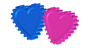 Gear love hearts, a engineers perspective royalty free illustration