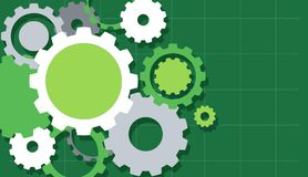 Engineering Gears on Green Background. Illustration Stock Image