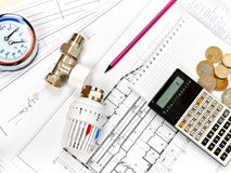 Engineering heating. Concept Heating. Project of heating for house. Engineering Concept Project of heating for house. thermostatic valve, copper fitting Stock Photography