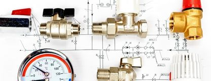 Engineering heating. Concept Heating. Project of heating for house. Engineering Concept Project of heating for house. thermostatic valve, copper fitting royalty free stock photo
