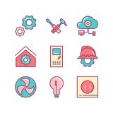 Engineering house icons. Engineering and construction icons. des. Ign icons. Industrial icons Vector Illustration