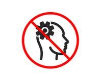 Engineering icon. Cogwheel tool sign. Vector. No or Stop. Engineering icon. Cogwheel tool sign. Man think symbol. Prohibited ban stop symbol. No engineering icon royalty free illustration