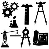 Engineering Icon Set. Isolated on a white background stock illustration