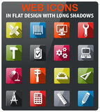 Engineering icon set. Engineering icons set in flat design with long shadow Stock Image