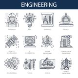 Engineering icons for construction building or plan drawing and energy technology. Royalty Free Stock Photos