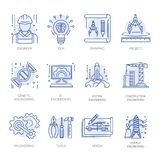 Engineering construction energy technology vector line icons set. Engineering icons for construction building or plan drawing and energy technology. Vector line Stock Photography
