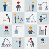 Engineering icons flat. Engineering construction worker machine operator mechanic flat icons set isolated vector illustration Stock Photography