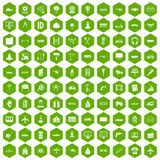 100 engineering icons hexagon green. 100 engineering icons set in green hexagon isolated vector illustration Royalty Free Stock Photos