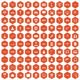 100 engineering icons hexagon orange. 100 engineering icons set in orange hexagon isolated vector illustration Vector Illustration