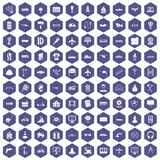 100 engineering icons hexagon purple. 100 engineering icons set in purple hexagon isolated vector illustration Royalty Free Stock Photos