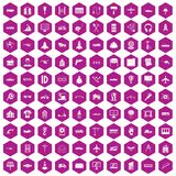 100 engineering icons hexagon violet. 100 engineering icons set in violet hexagon isolated vector illustration royalty free illustration