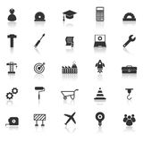 Engineering icons with reflect on white background Royalty Free Stock Image