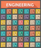 Engineering icons,Retro style,Colorful version.  Royalty Free Stock Photo