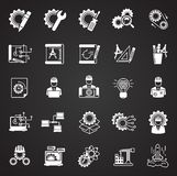 Engineering icons set on black background for graphic and web design, Modern simple vector sign. Internet concept. Trendy symbol. For website design web button vector illustration