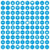 100 engineering icons set blue. 100 engineering icons set in blue hexagon isolated vector illustration stock illustration