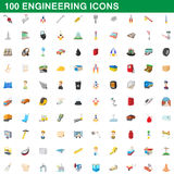 100 engineering icons set, cartoon style. 100 engineering icons set in cartoon style for any design vector illustration Stock Illustration