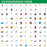 100 engineering icons set, cartoon style. 100 engineering icons set in cartoon style for any design illustration royalty free illustration