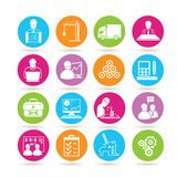 Engineering icons. Set of 16 engineering icons in colorful buttons Stock Image