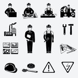 Engineering icons set. Engineering construction and industrial icons set of project work symbols vector illustration Royalty Free Stock Images