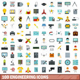 100 engineering icons set, flat style. 100 engineering icons set in flat style for any design vector illustration Royalty Free Stock Photo