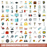 100 engineering icons set, flat style Royalty Free Stock Images