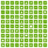 100 engineering icons set grunge green. 100 engineering icons set in grunge style green color isolated on white background vector illustration Royalty Free Stock Photography