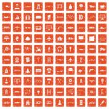 100 engineering icons set grunge orange. 100 engineering icons set in grunge style orange color isolated on white background vector illustration Stock Image