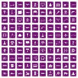 100 engineering icons set grunge purple Royalty Free Stock Photography