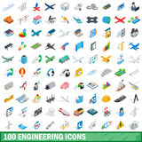 100 engineering icons set, isometric 3d style Stock Images