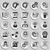 Engineering icons set on plates background for graphic and web design, Modern simple vector sign. Internet concept. Trendy symbol. For website design web button vector illustration