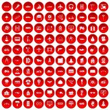 100 engineering icons set red. 100 engineering icons set in red circle isolated on white vector illustration vector illustration