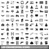 100 engineering icons set, simple style. 100 engineering icons set in simple style for any design vector illustration Royalty Free Stock Photo