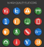 Engineering 16 flat icons. Engineering icons for web and user interface design stock illustration