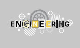 Engineering Industry Technology Web Banner Abstract Template Background With Gears. Vector Illustration Stock Photo