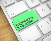 Engineering Innovation - Text on Green Keyboard Keypad. 3D. royalty free stock image