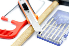 Engineering instrument. Mix of engineering tools in white background Royalty Free Stock Photo