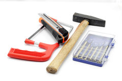 Engineering instrument. Mix of engineering tools in white isolated background Stock Photography